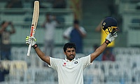 Karun Nair celebrating his triple century in the Chennai Test