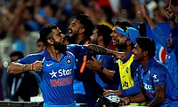 Virat Kohli celebrating the win with fans