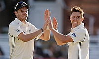 Tim Southee (left) and Trent Boult (right) picked nine wickets between them