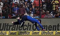 Alex Hales trying to stop a boundary during the Cuttack ODI