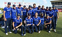 England players celebrating the series win