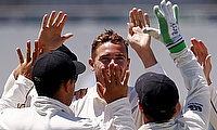 Tim Southee (centre) is suffering a hamstring injury