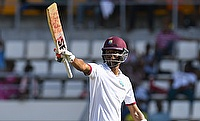 Roston Chase celebrating his fifty on day three of Dominica Test