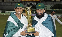 Younis Khan (left) and Misbah ul Haq celebrating the win