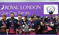 England players celebrating the series victory