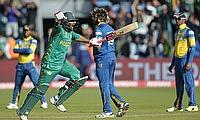 Safraz Ahmed celebrating the win over Sri Lanka