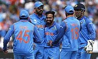 Kedar Jadhav (centre) celebrating the wicket of Tamim Iqbal along with his team-mates in semi-final
