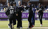 Gareth Batty (centre) picked a five wicket haul