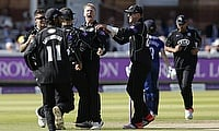 Gareth Batty (centre) picked a five wicket haul