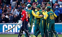 South Africa players celebrating the win