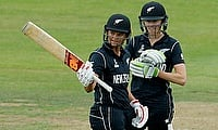 Suzie Bates (left) celebrating her century during the Women's World Cup game against Sri Lanka