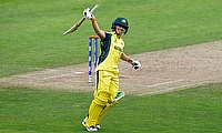 Nicole Bolton celebrating her century against West Indies