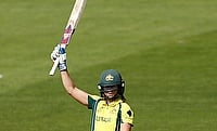 Ellyse Perry celebrating her half century