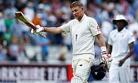 Joe Root reacts at the end of the first day's play