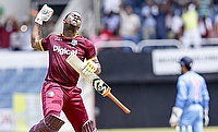 Evin Lewis celebrating the century in the only T20I against India