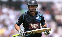 Ross Taylor remained unbeaten on 47 before rain arrived