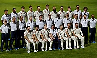The England team poses for a picture ahead of the day-night Test at Edgbaston