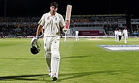 Alastair Cook walks off at the end of first day's play at Edgbaston