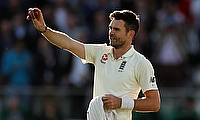 England's James Anderson celebrates the wicket of West Indies' Kraigg Brathwaite and his 500th test wicket