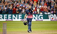 Moeen Ali celebrating his century in the third ODI in Bristol