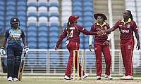 Stafanie Taylor (right) picked three wickets in the final ODI against Sri Lanka in Trinidad