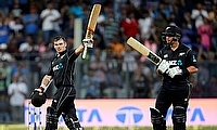 Tom Latham (left) and Ross Taylor (right) in action during the first ODI against India in Mumbai