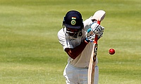 India's Cheteshwar Pujara plays a shot
