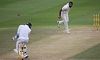 South Africa's Andile Phehlukwayo avoids a bouncer from Mohammed Shami