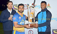 The legendary Shiv Chanderpaul presenting the Trophy in 2017
