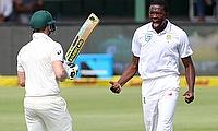 South Africa's Kagiso Rabada celebrates taking the wicket of Australia's Steve Smith