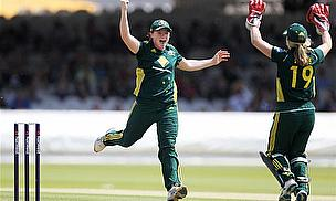 Australia avenged their World Twenty20 semi-final defeat today at Derby.