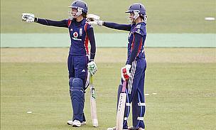 Caroline (right) batting with Sarah Taylor