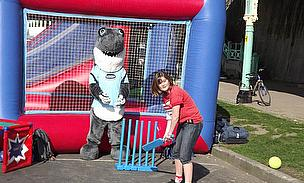 Sid the Shark got into the spirit by playing cricket with the youngsters
