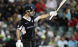 Grant Elliott celebrates a milestone playing for New Zealand in ODI cricket
