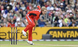 Stuart Broad bowling for England
