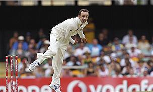 Nathan Lyon bowls for Australia