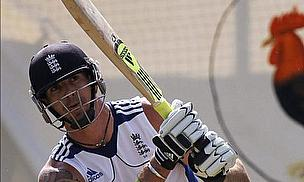 Kevin Pietersen batting in the nets for England