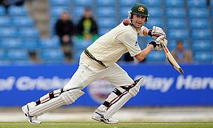 Michael Clarke hits a shot for Australia