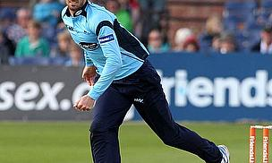 Chris Liddle bowls for Sussex.