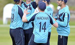 Iain Wardlaw celebrates a wicket against Kenya