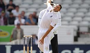 Tim Bresnan bowls for England