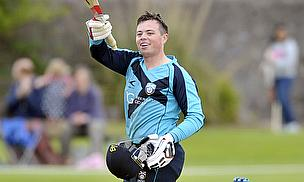 Matt Machan celebrates his century against Kenya