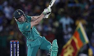 AB de Villiers drives expansively.