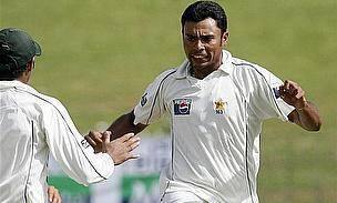 Danish Kaneria in action for Pakistan