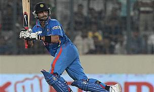 Virat Kohli plays a shot for India