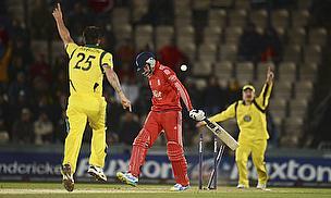 Mitchell Johnson celebrates for Australia