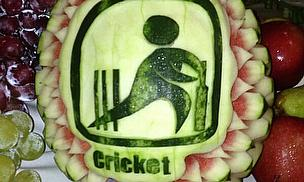 Watermelon with cricket decoration