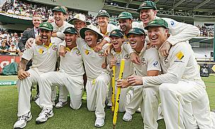 Australia's players celebrate regaining The Ashes with a 150-run win in Perth