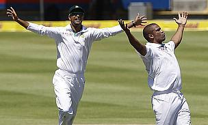 South Africa's Vernon Philander celebrates