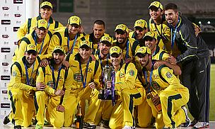 Australia celebrate an ODI series win